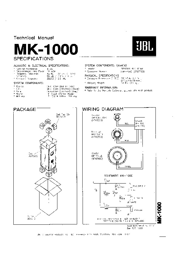 JBL MK 1000 Service Manual — View online or Download