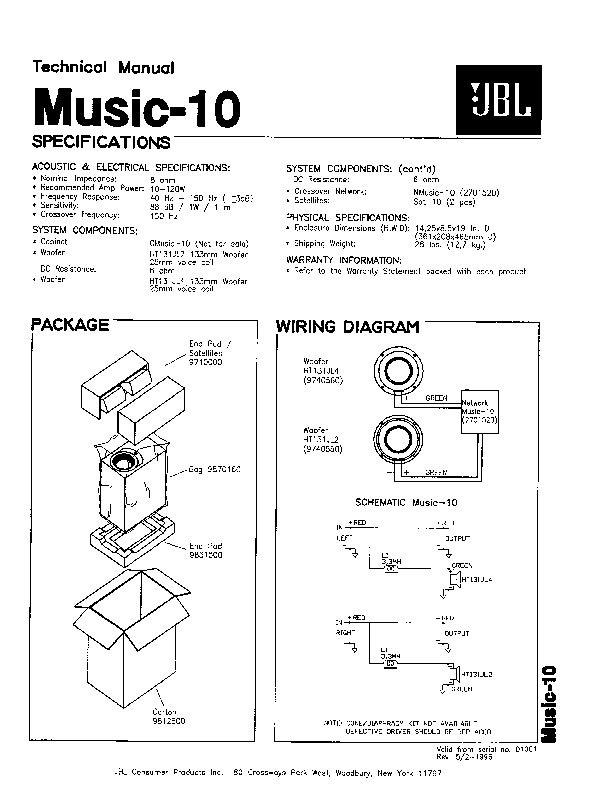 JBL MUSIC 1 SUB Service Manual — View online or Download