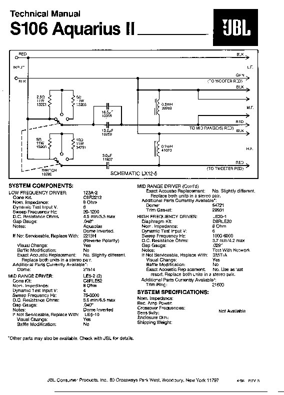 JBL S 105 AQUARIUS I Service Manual — View online or