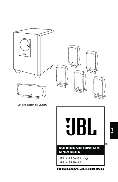 JBL SCS 200 User Guide / Operation Manual — View online or
