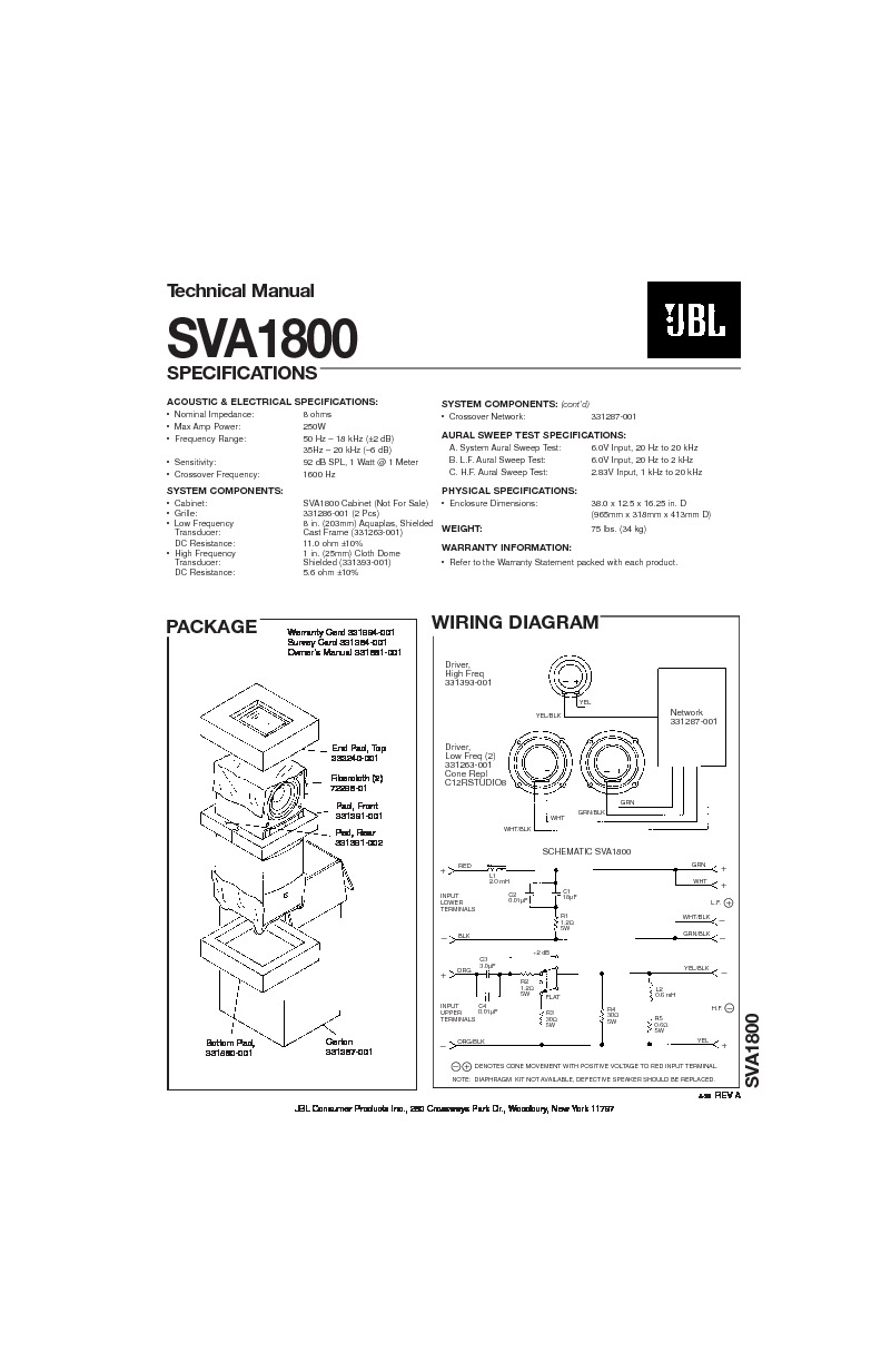 JBL SVA 1800 (SERV.MAN2) Service Manual — View online or