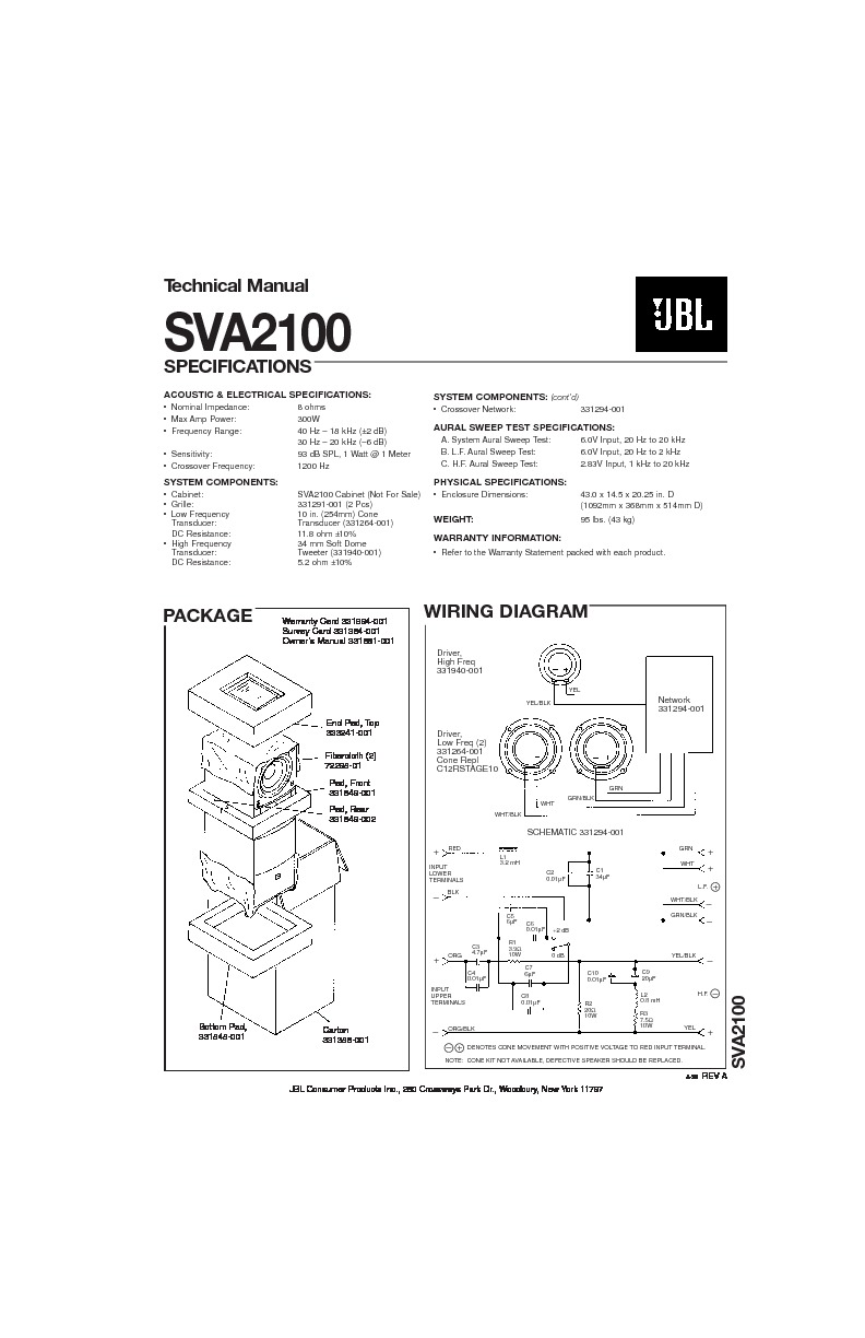 JBL SVA 2100 Service Manual — View online or Download