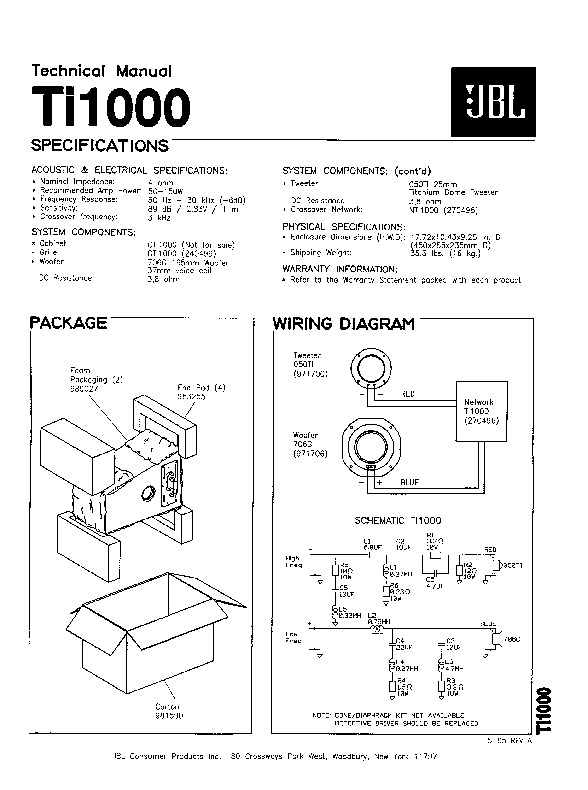 JBL TI 1000 Service Manual — View online or Download