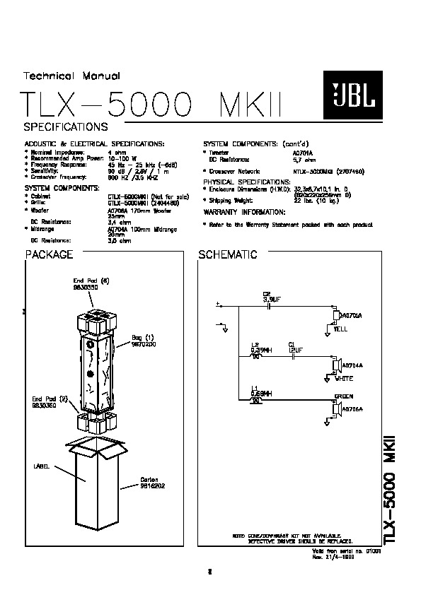 JBL TLX 5000 MKII Service Manual — View online or Download
