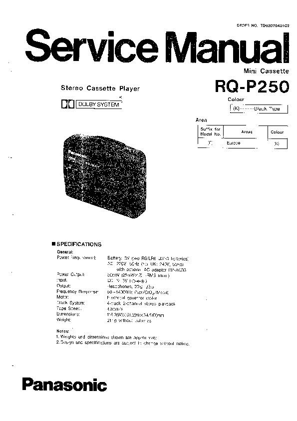 Panasonic RQ-P250 Service Manual — View online or Download