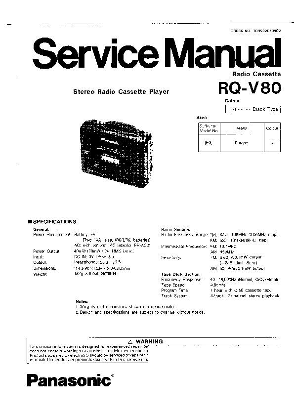 Panasonic RQ-V80 Service Manual — View online or Download