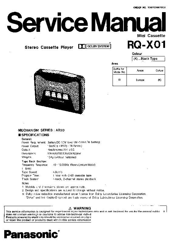 Panasonic RQ-X01 Service Manual — View online or Download