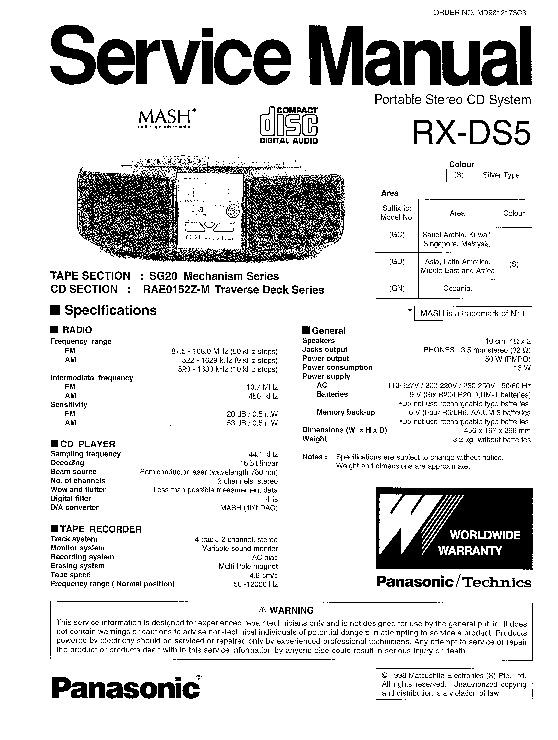 Panasonic RX-DS5 (SERV.MAN2) Service Manual — View online
