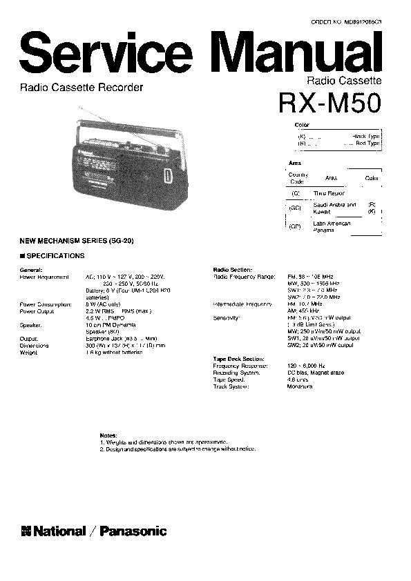 Panasonic RX-M50 Service Manual — View online or Download