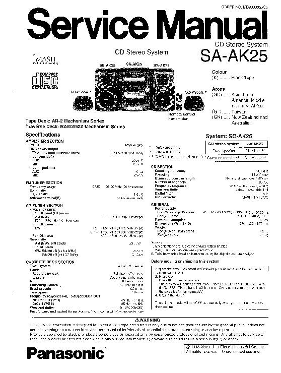 Panasonic SA-AK25 (SERV.MAN2) Service Manual — View online