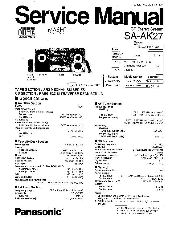 Panasonic SA-AK27 Service Manual Supplement — View online