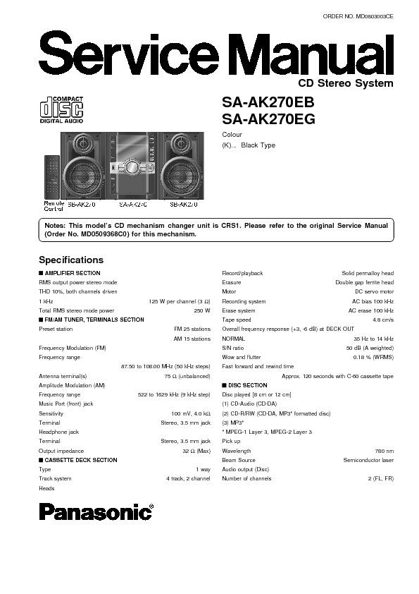 Panasonic SA-AK27 (SERV.MAN2) Service Manual — View online