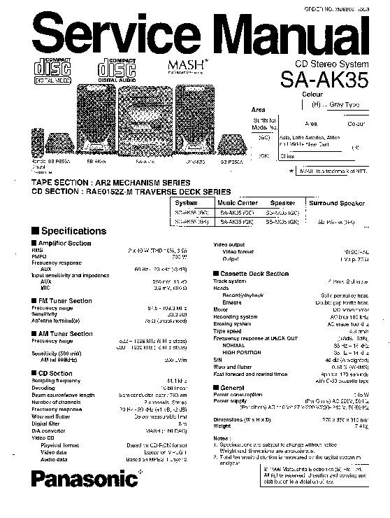 Panasonic SA-AK25, SA-AK35 Service Manual Supplement