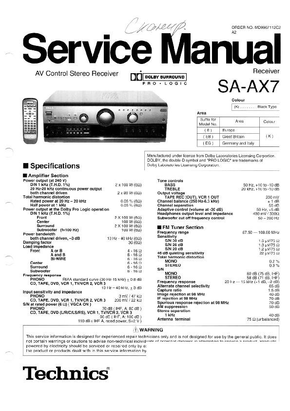 Panasonic SA-AX7 Service Manual — View online or Download