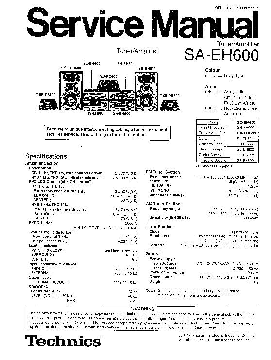 Panasonic SA-EH600 Service Manual — View online or