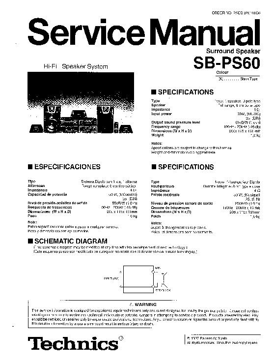Panasonic SB-PS60 Service Manual — View online or Download