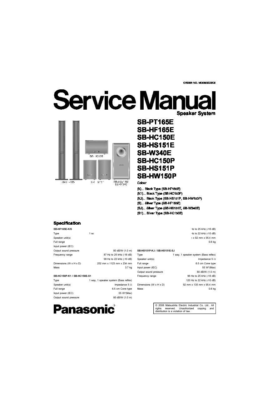 Panasonic SB-PT165E, SB-HF165E, SB-HC150E, SB-HS151E, SB
