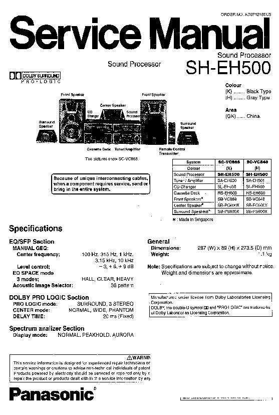 Panasonic SH-EH500 (SERV.MAN2) Service Manual Supplement