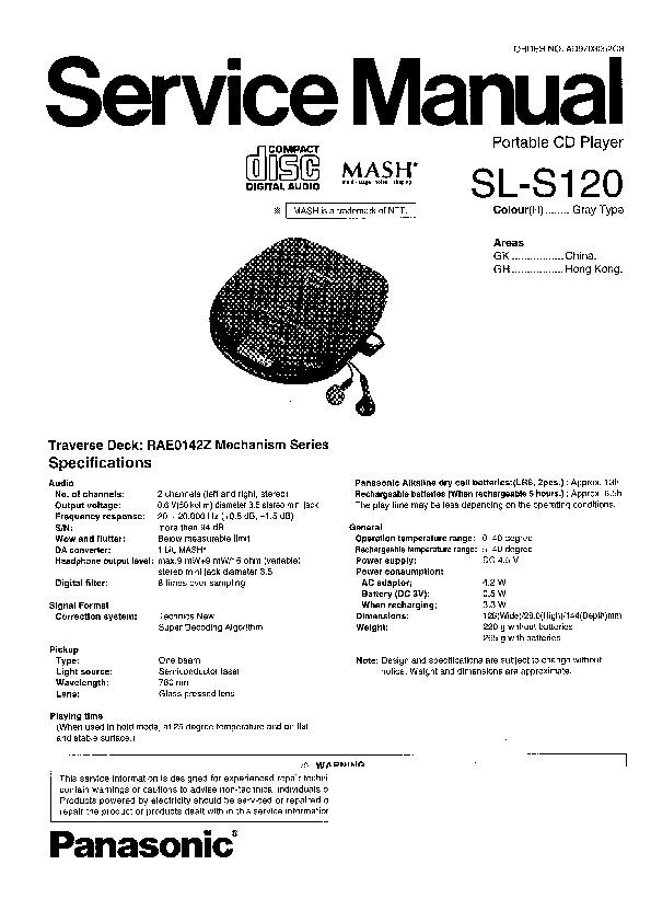 Panasonic SL-S120, SL-S125 Service Manual — View online or