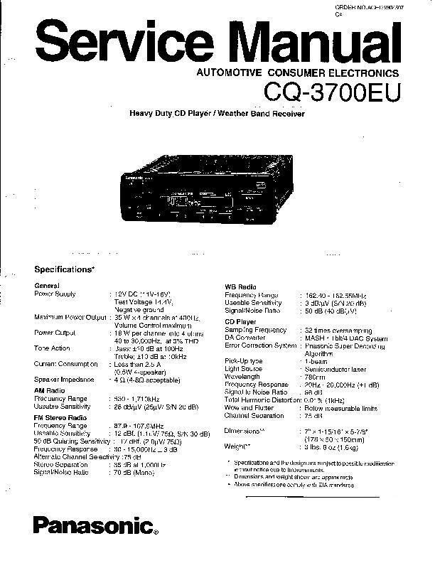 Panasonic CQ-DFX85EUC, CQ-3650EU, CQ-3700EU, CQ-DFX355LEN