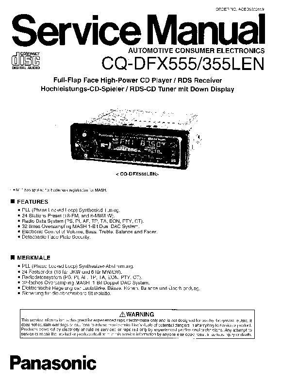 Panasonic CQ-DFX555LEN, CQ-DFX355LEN Service Manual — View