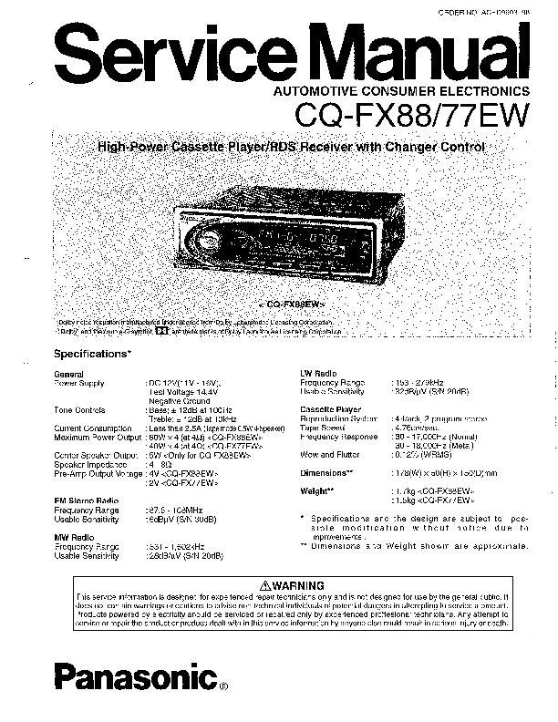 Panasonic CQ-FX88, CQ-FX77EW Service Manual — View online