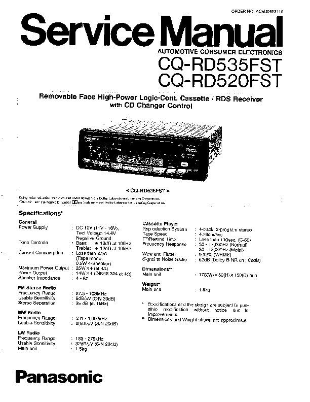 Panasonic CQ-RD535FST, CQ-RD520FST Service Manual — View
