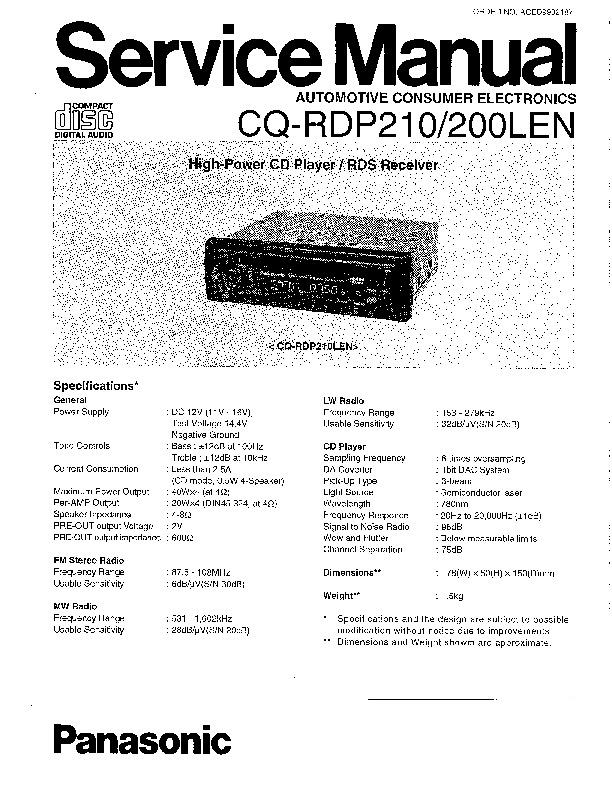 Panasonic CQ-RDP210, CQ-RDP200LEN Service Manual — View