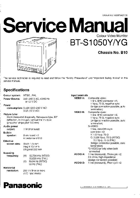 Panasonic BT-S1050Y, BT-S1050YG Service Manual — View
