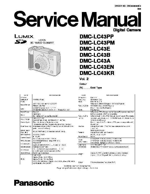 Panasonic DMC-LC43PP, DMC-LC43PM, DMC-LC43E, DMC-LC43B