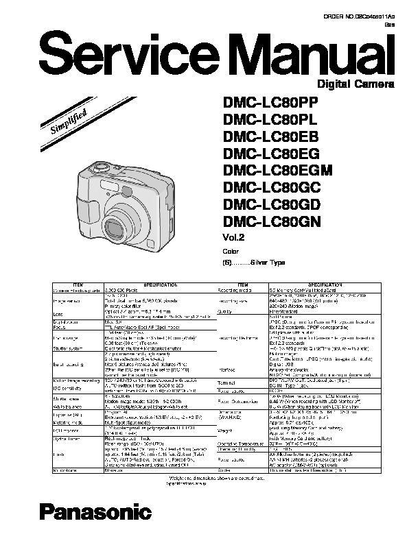 Panasonic DMC-LC80PP, DMC-LC80PL, DMC-LC80EB, DMC-LC80EG