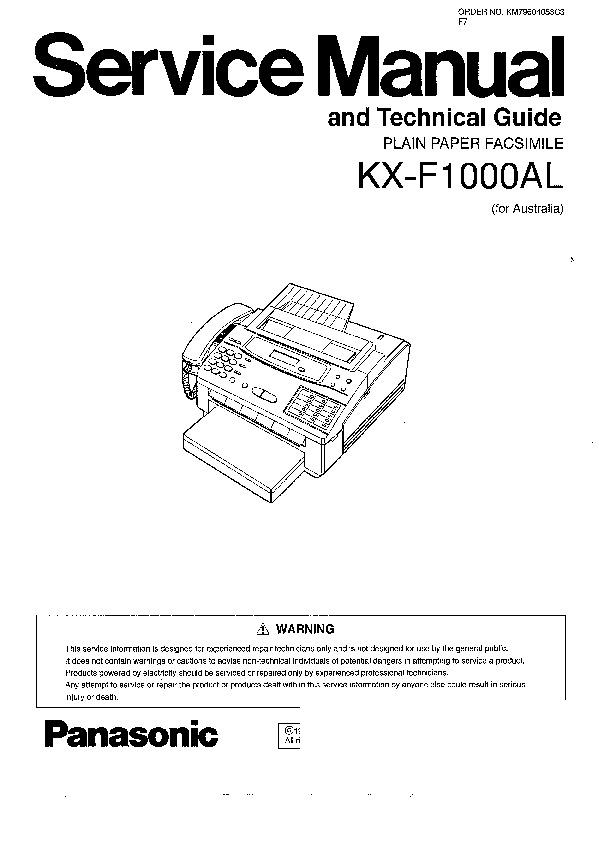 Panasonic KX-F1000AL (SERV.MAN3) Service Manual Supplement