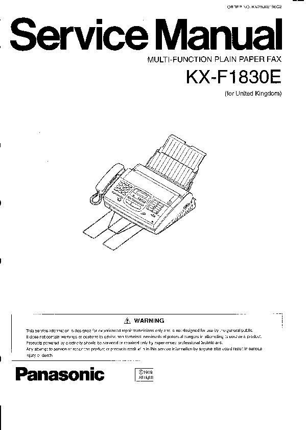 Panasonic KX-F1110, KX-F1830G, KX-F1830E Service Manual