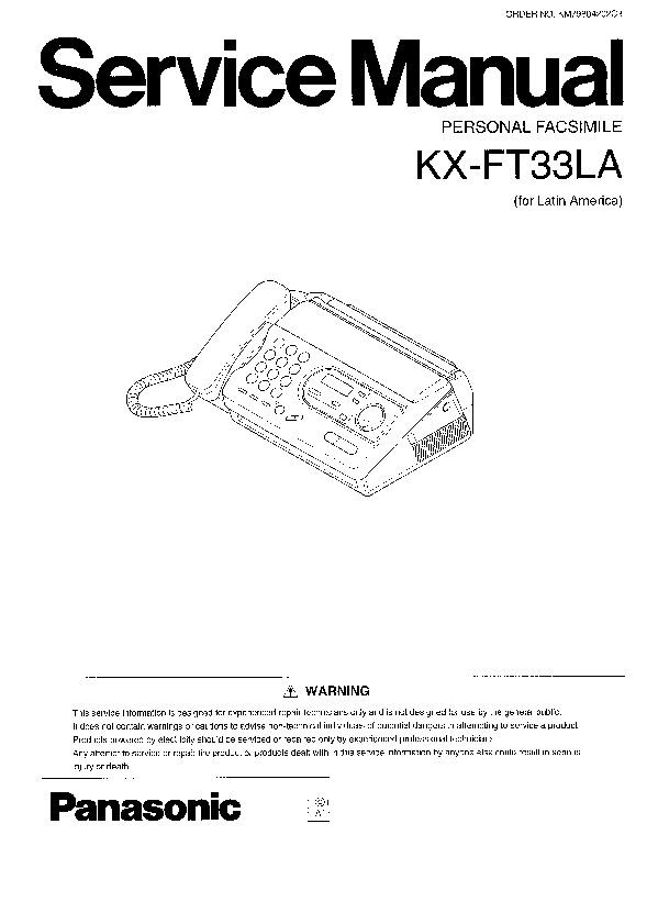 Panasonic KX-FT31, KX-FT33, KX-FT37 Service Manual