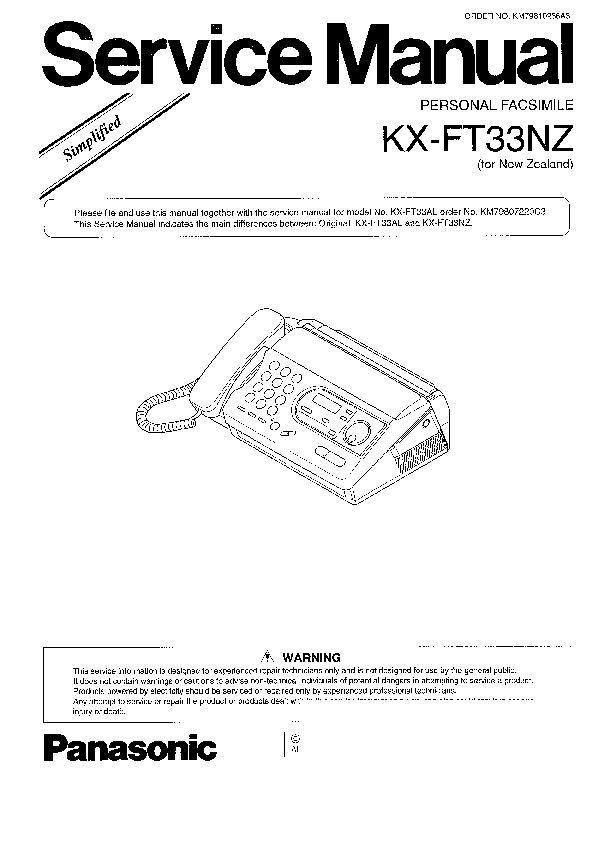 Panasonic KX-FT31, KX-FT33, KX-FT37 Service Manual