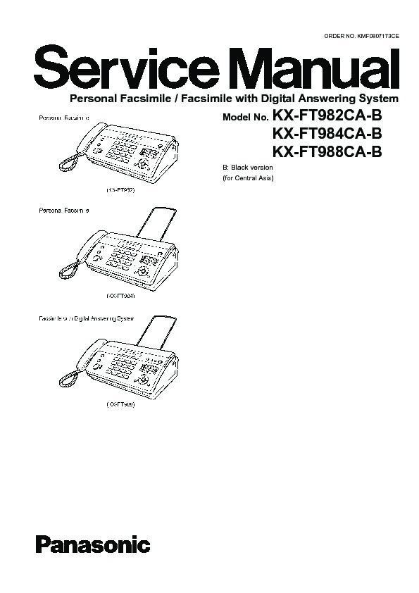 Panasonic KX-FT982CA, KX-FT984CA, KX-FT988CA Service