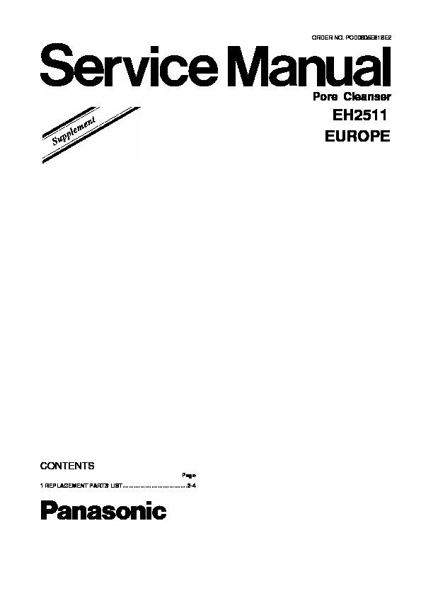 Panasonic EH2511, EH2511A825 Service Manual Supplement