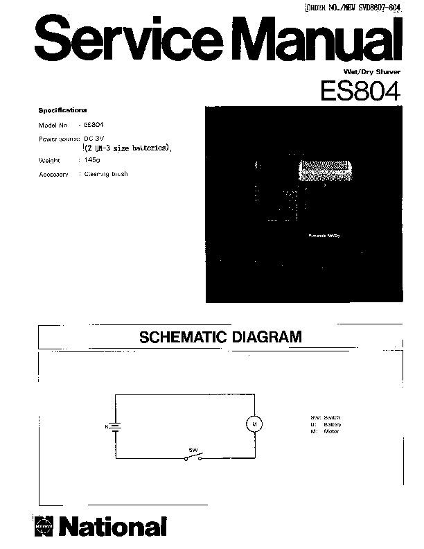Panasonic ES804 Service Manual — View online or Download