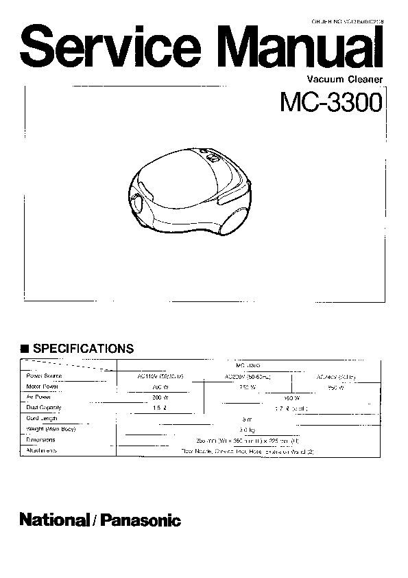 Panasonic MC-3300 Service Manual — View online or Download