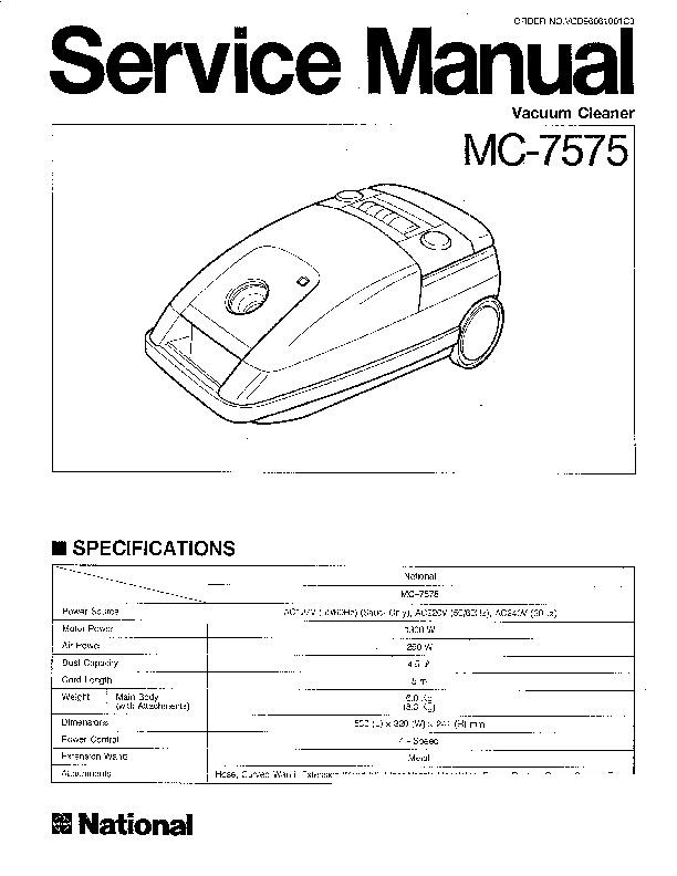 Panasonic MC-7575 Service Manual — View online or Download