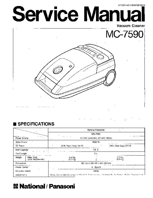 Panasonic MC-7590 Service Manual — View online or Download