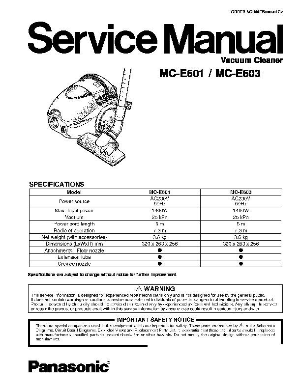 Panasonic MC-E601, MC-E603 Service Manual — View online or