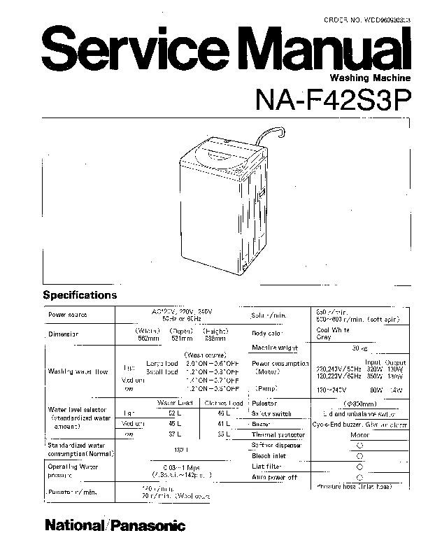 Panasonic NA-F42S3P Service Manual — View online or