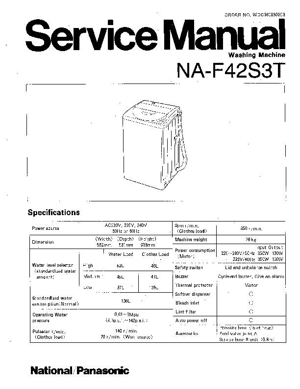Panasonic NA-F42S3T Service Manual — View online or