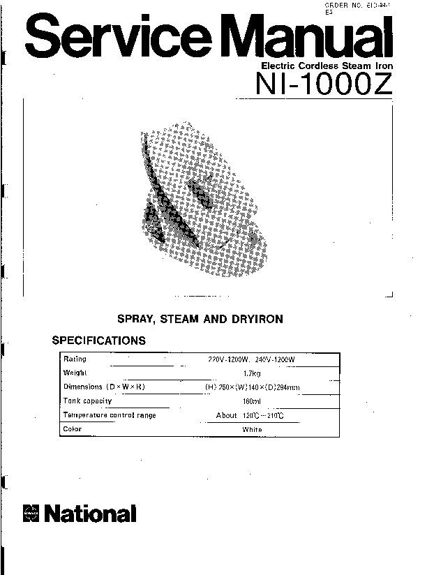 Panasonic NI-1000Z Service Manual — View online or