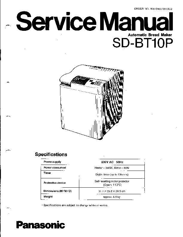 Panasonic SD-BT10P-BEL Service Manual — View online or