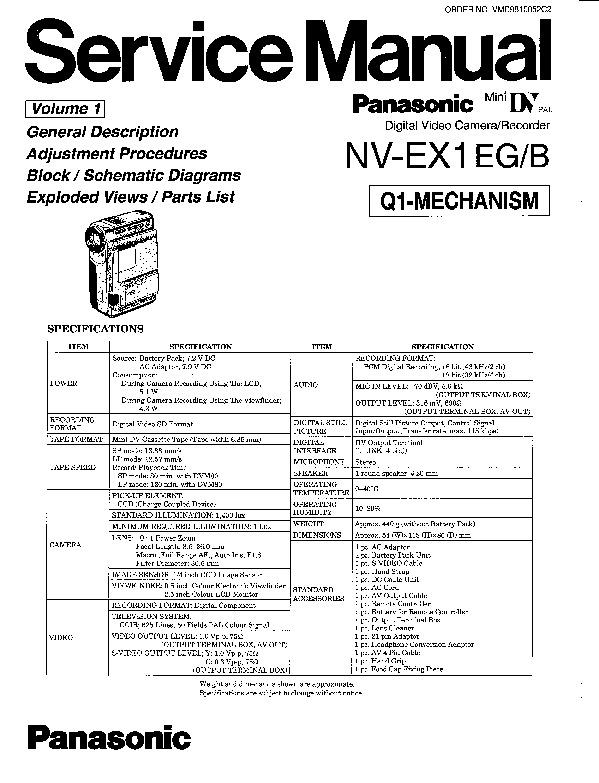 Panasonic NV-EX1EG, NV-EX1B Service Manual — View online