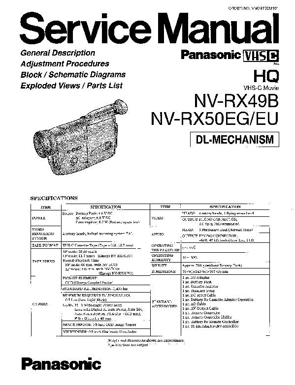 Panasonic NV-RX49B, NV-RX50EG, NV-RX50EU Service Manual