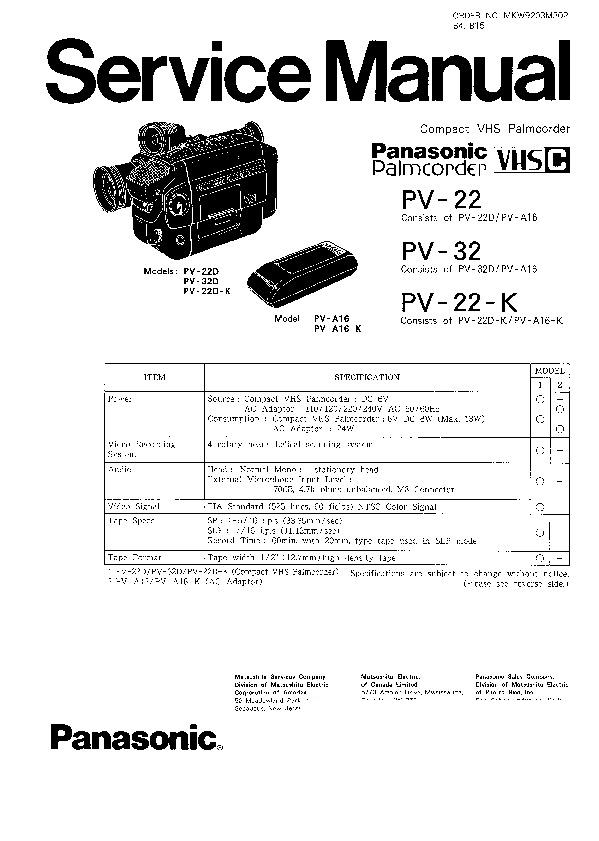 Panasonic PV-22, PV-32, PV-22-K Service Manual — View