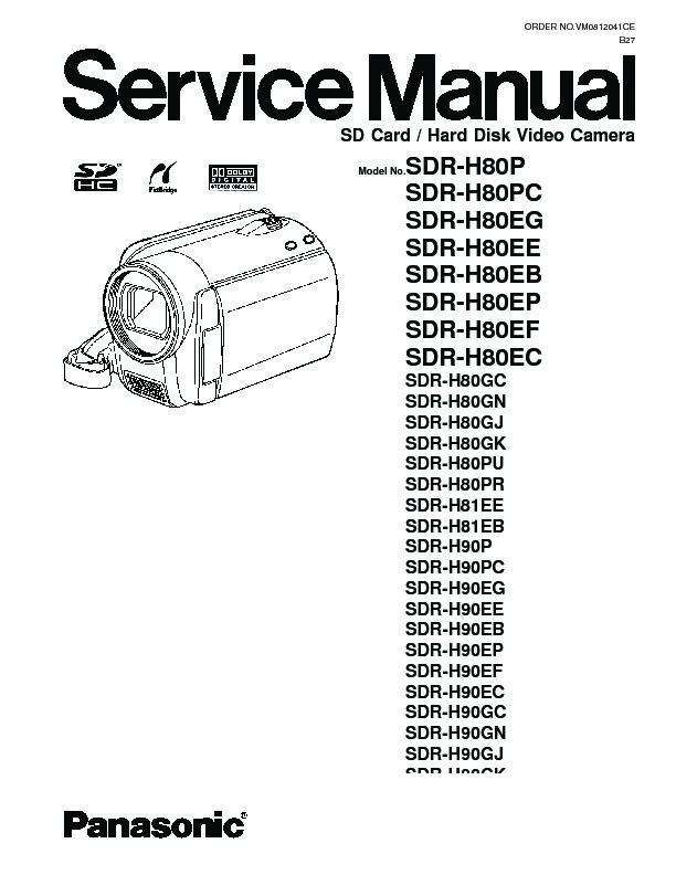 Panasonic SDR-H80P, SDR-H80PC, SDR-H80EG, SDR-H80EE, SDR